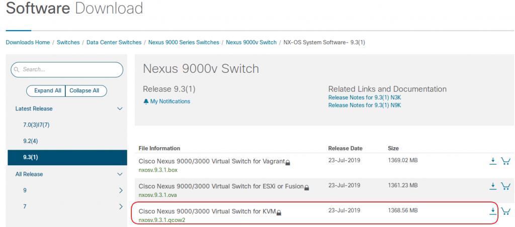 CiscoNexus9000ダウンロードシスコサイト