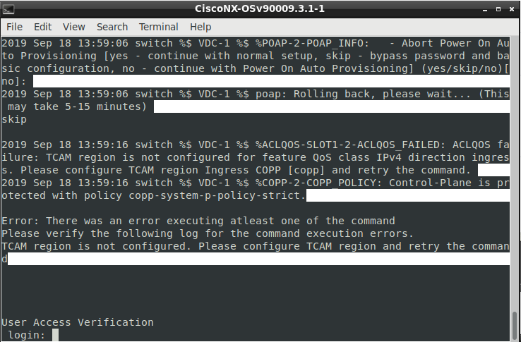 NX-OSv 9000起動