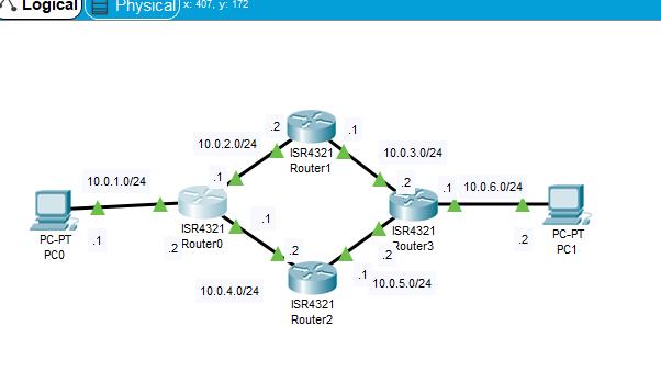 CiscoPacketTracerEIGRPベーシック実験EIGRP稼働後