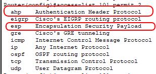 access-listで使えるプロトコル