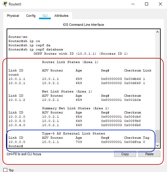 OSPF簡単構成図Type1 から5までR0