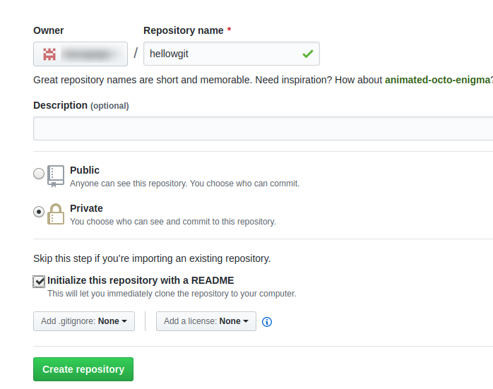 create private repository